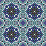 Arabesque naadloos patroon in blauw en turkoois Stock Foto