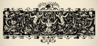 Arabesque, renaissance. Engraving of 16 century. Stock Photography