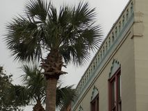 Arabesque Roofline. A cloudy day in January; shot of an arabesque roofline on St. George Street in Downtown St. Augustine Royalty Free Stock Image