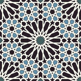 Arabesque seamless pattern in blue and black vector illustration