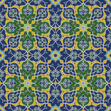 Arabesque seamless pattern in blue and green Royalty Free Stock Photos