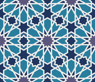 Arabesque seamless pattern in blue and grey stock illustration