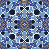 Arabesque seamless pattern in blue and white Royalty Free Stock Images