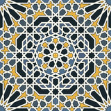 Arabesque seamless pattern in blue and yellow. In editable vector file stock illustration