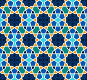 Arabesque seamless pattern with stars on blue Stock Photography