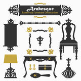 Arabesque silhouette banners & furniture icons Royalty Free Stock Photo