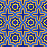 Arabesque tile seamless pattern in blue and yellow stock illustration