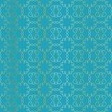 Arabesque vignettes seamless pattern. Turquoise Stock Photos