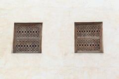 Arabesque window. Arabic style wooden window shutters Royalty Free Stock Photo