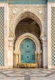 Arabesquepatroon bij de fontein bij Moskee van Hasan II in Casablanca Royalty-vrije Stock Foto's