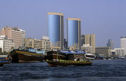 ARABIA EMIRATES DUBAI. A city boat and ferry on the Dubai creek in the old town in the city of Dubai in the Arab Emirates in the Gulf of Arabia Stock Images