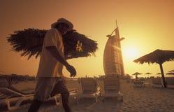 ARABIA EMIRATES DUBAI. The hotel Burj al Arab in the city of Dubai in the Arab Emirates in the Gulf of Arabia Royalty Free Stock Photography