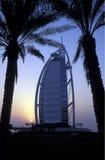 ARABIA EMIRATES DUBAI. The hotel Burj al Arab in the city of Dubai in the Arab Emirates in the Gulf of Arabia Stock Photos