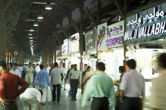 ARABIA EMIRATES DUBAI. A shopping street in the souq or Market in the old town in the city of Dubai in the Arab Emirates in the Gulf of Arabia Royalty Free Stock Photography
