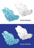 Arabia Saudyjska mapa w geometrycznym poligonalnym stylu Abstrakcjonistyczny klejnotu trójbok Zdjęcia Stock