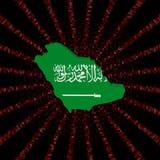 Arabia Saudyjska mapy flaga na czerwonej hex kodu wybuchu ilustraci royalty ilustracja