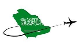 Arabia Saudyjska mapy flaga z samolotu i swoosh ilustracją Zdjęcia Royalty Free