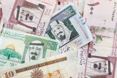 Arabia Saudyjska pieniądze, banknotu tła tekstura Zdjęcia Royalty Free