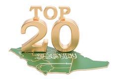 Arabia Saudyjska wierzchołka 20 pojęcie, 3D rendering Obrazy Royalty Free
