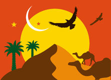 Arabian. Feel with camels, falcon and desert stock illustration