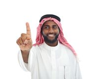 Arabian African man with finger on screen - Stock Photography