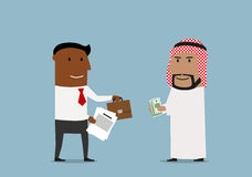Arabian and american businessmen signing contract Royalty Free Stock Photos