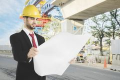 Arabian architect checking in the construction site Stock Photo