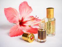 Arabian Attar In A Mini Bottle. Concentrated Oud Oil Perfume. Royalty Free Stock Photography
