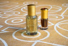 Arabian Attar In A Mini Bottle. Concentrated Oud Oil Perfume. Stock Images