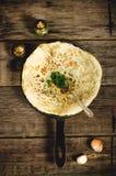 Arabian bread with herbs Stock Photos