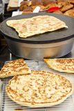 Arabian bread - Semolina Pan-Fried Flatbread. And square shaped morocco galette (msemen) with meat or vegetable filling Royalty Free Stock Photography