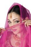 Arabian Bride. Photo of an Arabian bride, peering over her veil stock image