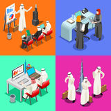 Arabian Business Isometric People. Middle East Arab Businessmen working on Laptop. Arabian hijab desk woman working at a laptop. Flat 3D Isometric People Royalty Free Stock Images