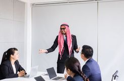 Arabian business people at front room meeting,Team asian group discussing together in conference at office royalty free stock photos