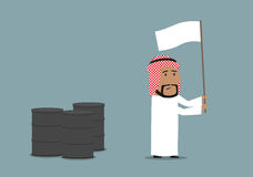 Arabian businessman capitulating with white flag. Business concept of oil price downturn, energy and financial crisis. Cartoon arabian businessman waving a white Stock Photos