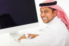 Arabian businessman computer Royalty Free Stock Image