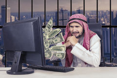 Arabian businessman expressing unhappiness on office Stock Photography