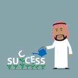 Arabian businessman grows a success Stock Images
