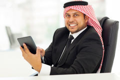 Arabian businessman internet Stock Photo