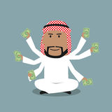 Arabian businessman with many hands Stock Images