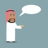 Arabian businessman with money and speech bubble Stock Photo