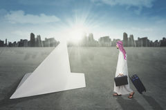 Arabian businessman with paper plane Royalty Free Stock Photography