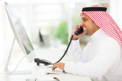 Arabian businessman telephone Royalty Free Stock Photo