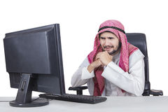 Arabian businessman worry something Royalty Free Stock Photos