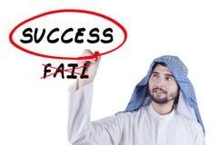 Arabian businessman writes success word Royalty Free Stock Photography