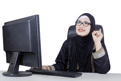 Arabian businesswoman birthing of new idea Stock Photography