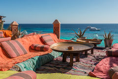 Arabian cafe on the Red Sea coast Stock Photo