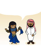 Arabian cartoon couple social bubble Stock Photo