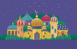 Arabian city. With character buildings at the night vector illustration