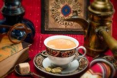 Arabian coffee. With cardamon seeds - traditional coffee Royalty Free Stock Image